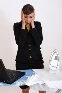 business woman in trouble by housework